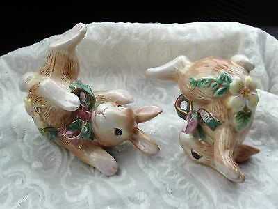 Easter Bunny Figurines, Fitz and Floyd, Set, Playful Poses, Excellent Condition
