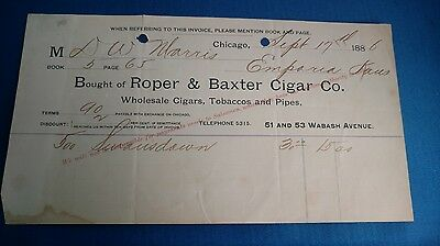 Antique Vintage cigar smoke gambling tobacco pipes Roper & Baxter Co. invoice