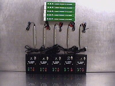 Lot of 5 RSR Logic Probe & Pulsers LP620 with Power Supplies (M202676)