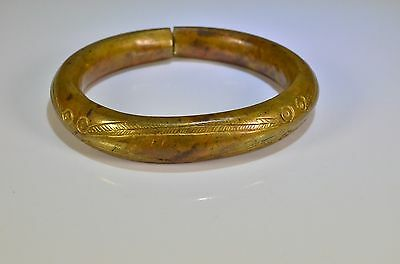 vintage bronze heavy ethnic tribal bangle hand decorated rare item African ??