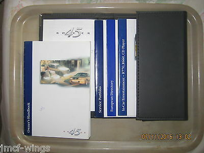 Rover 45 Owner's Handbook, Wallet, In-car Entertainment and other Documents.
