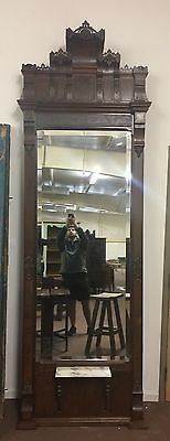 Rare Antique Victorian Pier W/ Lion Heads And Beveled Mirror 10Ft