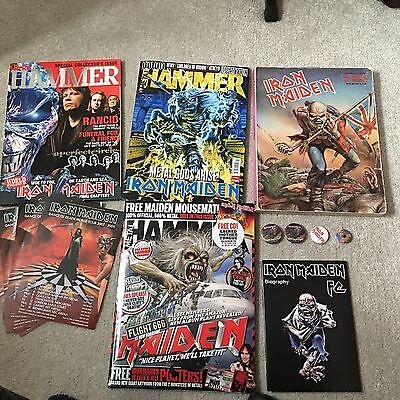 Iron Maiden Collection Of Magazines, Books, Badges & Flyers