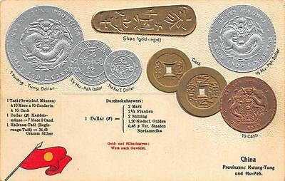 CHINESE COINS c1913 GERMAN LANGUAGE Postcard GUANGDONG & HUBEI DRAGON $$$ China