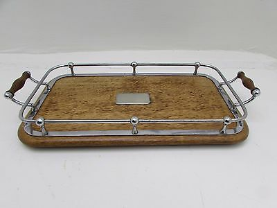 Antique Oak & Silver Plated Galleried Two Handled Serving Tray