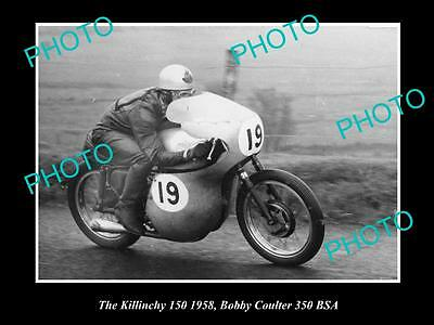 Old Historic Motorcycle Photo Of Bobby Coulter & His 350 Bsa, Killinchy 1958