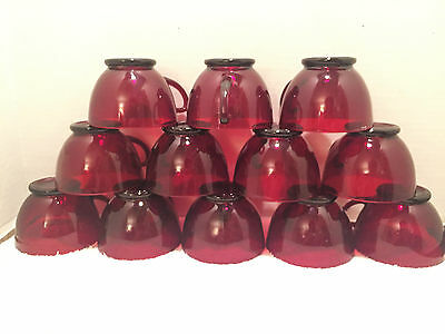 "Vintage ""FIRE KING"" ANCHOR HOCKING Lot of 6 Royal Ruby Red Punch Cups  5 oz  LN"