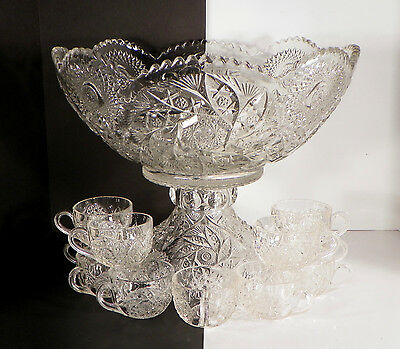 Westmoreland Buzz Star Crystal 13-pc Punch Bowl Set 1920 with Base and Cups