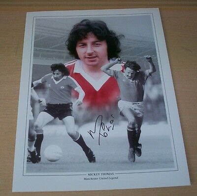 Mickey Thomas - Manchester United Signed 16x12 Montage Photo - PROOF