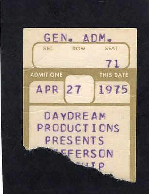 1975 Jefferson Starship Concert Ticket Stub Madison Wisconsin Red Octopus