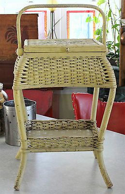 Antique early 1900's Heywood Wakefield Splint Wood Wicker Sewing Stand old Paint