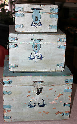 3 Vintage Blue Painted Folky Fold Art HP Wooden Boxes Stackable Graduating Sizes