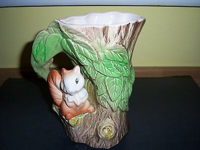 Vintage Eastgate Withernsea Pottery Fauna - Squirrel In Tree Jug/vase 1960's