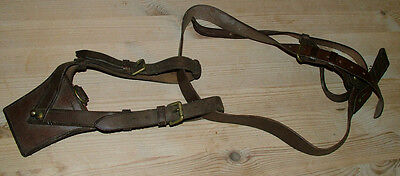sam browne officers shoulder strap and sword frog ww1 vgc brown leather collect