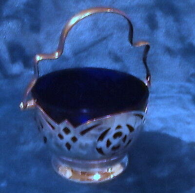 Silver Plated Sugar Bowl With Blue Glass Insert And Handle