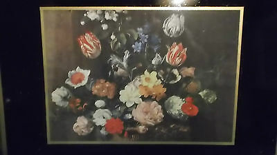 Antique Tray With Flower Display Print Under Glass