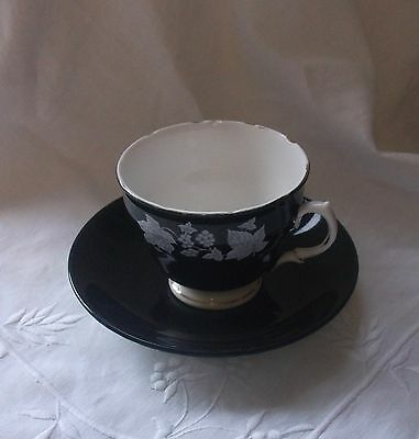 Vintage Black & White Mismatched  Teacup & Saucer