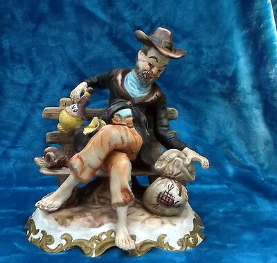 Capodimonte Early Vintage Tramp On A Bench ( Large Issue )