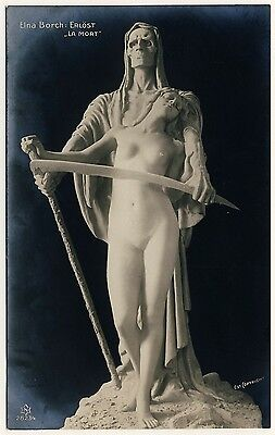 Elna Borch Skulptur TOD & EROS & DEATH Sculpture * Vintage 1910s Photo PC