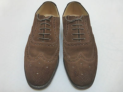 WORN ONCE ENGLISH SUEDE LEATHER BROGUES LOAKE SHOES : 1940s CC41 VTG STYLE 6 1/2