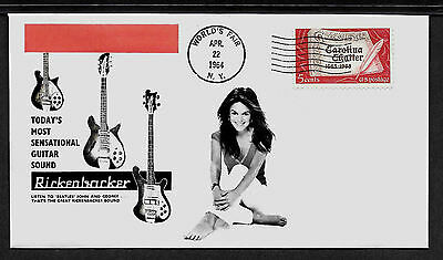 1964 Rickenbacker Guitar & Sexy Girl Ad Featured on Collector's Envelope *X478