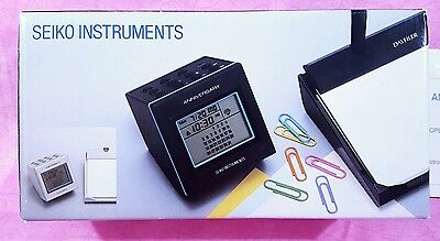 Vintage Seiko Desk Set Digital Clock Pen Paper Stationary Anniversary DF-520