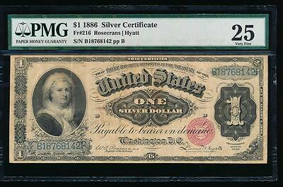 AC Fr 216 1886 $1 Silver Certificate MARTHA PMG 25 comment