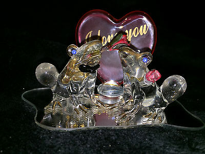 """Token Of Love 2 Glass Frogs On Mirror W/ Lg Heart Behind """"i Love You"""" 2000"""