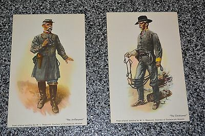 VTG Textured POSTCARDS from ORG Painting by W.L Sheppart ARTILLERYMAN CAVALRYMAN