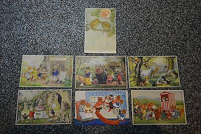 7 VTG Cute Bunnies PostCards MEDICI SOCIETY Engraved/Printed in Great Britain A+