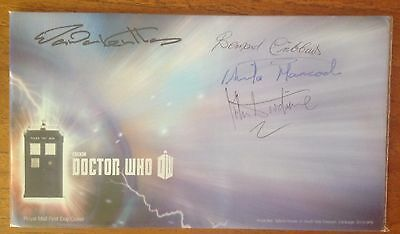 Royal Mail Dr Who Hand Signed First Day Cover With Wanda Ventham, John Woodvine.