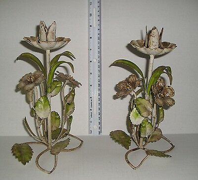 "Vintage Italian Tole Floral Candlesticks Pair (2)  9"" Tall"