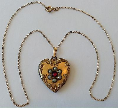 Vintage Art Deco Gold Filled Pearl & Rhinestone Heart Locket Necklace
