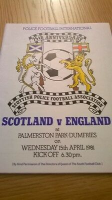 SCOTLAND v ENGLAND 15.4.1981 POLICE INTERNATIONAL at QUEEN OF THE SOUTH  FC