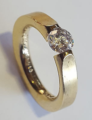 Niessing Sterling Silver 925 Ring Everest 4.0/0.6 Ct Round CZ Size 5.75 Designer