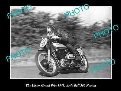 Old Historic Motorcycle Photo Of Artie Bell Racing His Norton 500, Ulster 1948