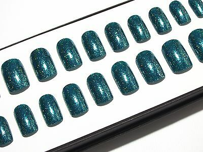 Short Teal Chrome False Fake Press On Nail Hand Painted Acrylic Artificial Nails