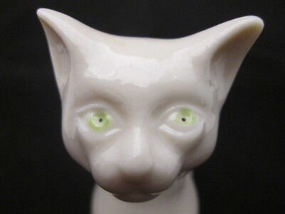 "Early Belleek Ivory China Sitting Regal Cat with Bright Green Eyes 4-7/8"" Tall"