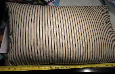 "VINTAGE BLUE & WHITE STRIPE TICKING FEATHER PILLOW 22"" x 14"" x 5"" thick bedroom"