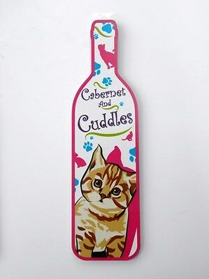 Cat Kitten Lover Cabernet and Cuddles Wine  Bottle Shaped Wall Sign NEW