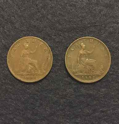 1881 And 1882 'h' Queen Victoria Farthing Coins. (Good Grade).