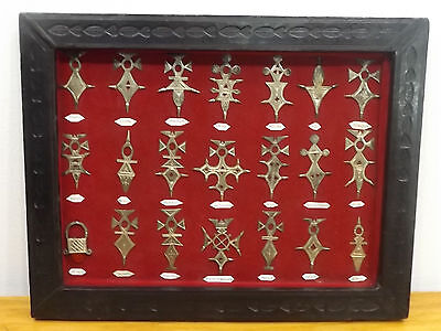 African Niger Tuareg Tribal Silver Jewelry Symbology Framed Display Shadowbox