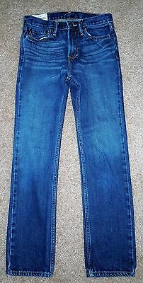 Boys Size 16 Slim Fit Dark Wash Distressed Zipper Fly Abercrombie & Fitch Jeans