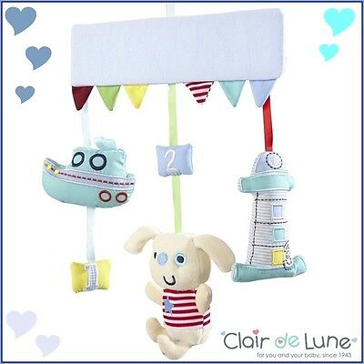 Clair de Lune Ahoy Musical Mobile Cot Baby Mobile Wind up Boys Blue