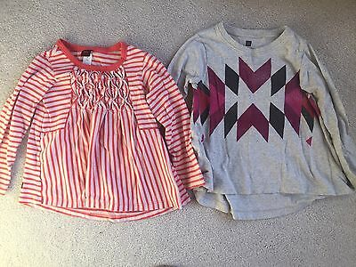 Lot of 2 Toddler Girl's TEA COLLECTION Long Sleeve Tops Size XS (2T-3T)