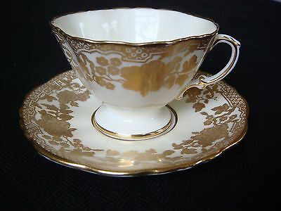 Hammersley & Co Fluted Coffee Cup & Saucer Cream & Gold Pattern c1887/1932