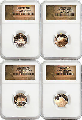Set Of 4 2009 S 1C Lincoln Bicentennial Cents NGC PF70 Red UC