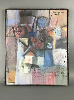 Mid Century Abstract Modernist Still Life on Canvas Painting 1962 Signed