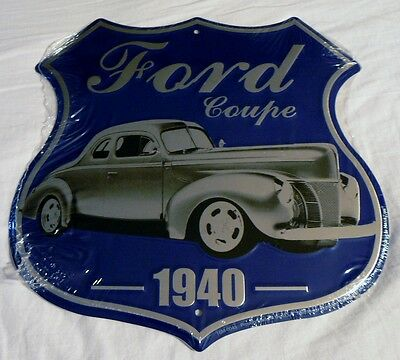 Ford 1940 Coupe Shield Parking Sign Man Cave Den Garage