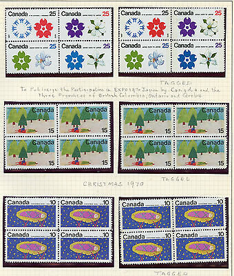Weeda Canada 511a//530p VF mint NH collection of 1970 blocks, varieties CV $140+